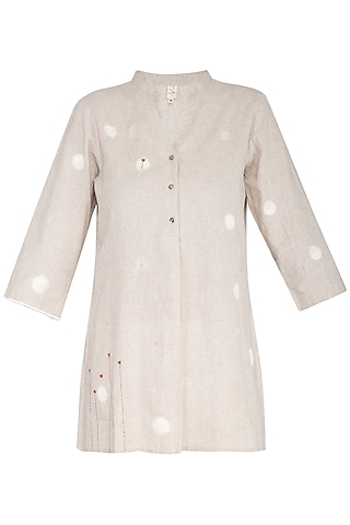 Natural Embroidered Shirt by IHA