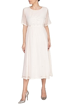 Ivory Embroidered Woven Dress by IHA