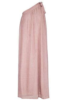 Onion Pink Embroidered One Shouldered Dress by IHA