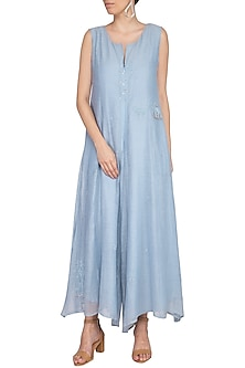 Powder Blue Embroidered Jumpsuit by IHA