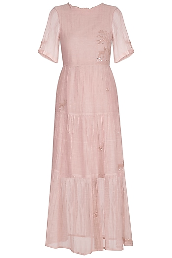 Onion Pink Embroidered Tiered Dress by IHA