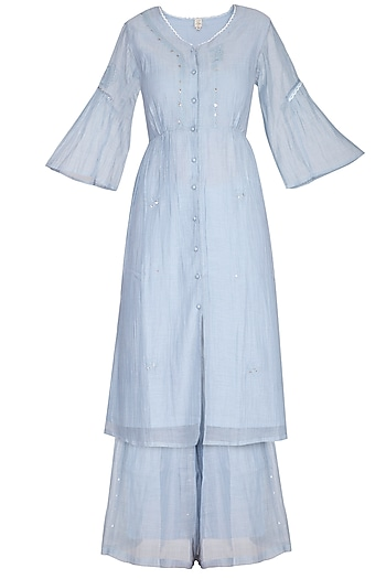 Powder Blue Embroidered Kurta With Palazzo Pants by IHA