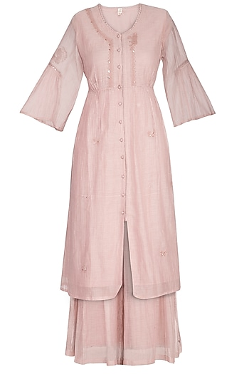 Pink Embroidered Kurta With Palazzo Pants by IHA