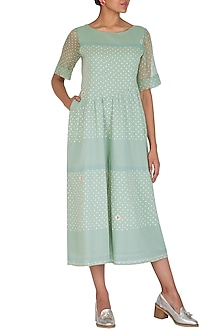 Mint Green Block Printed & Embroidered Jumpsuit by IHA