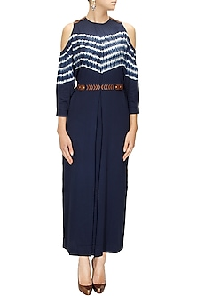 Ink Blue Shibori Maxi Dress by Ikai by Ragini Ahuja
