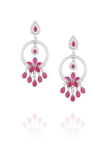 Glass ruby earrings by Ikebaana