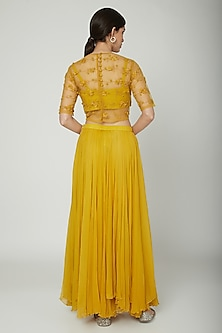 Mustard Embroidered Crop Top With Bralet & Skirt by ILK by Shikha and Vinita