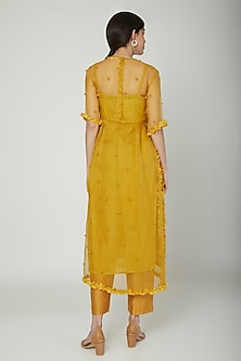 Mustard Embroidered Sheer Kurta With Inner by ILK by Shikha and Vinita