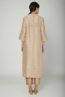 Beige Floral Embroidered Kurta by ILK by Shikha and Vinita