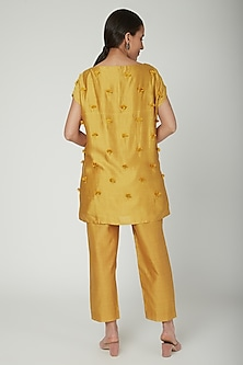Mustard Floral Embroidered Top by ILK by Shikha and Vinita