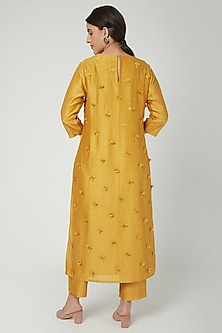 Mustard Floral Embroidered Kurta by ILK by Shikha and Vinita