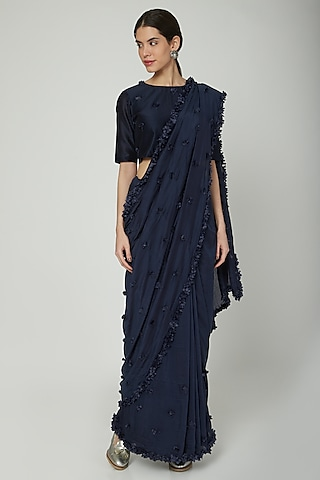 Navy Blue Floral Embroidered Saree by ILK by Shikha and Vinita