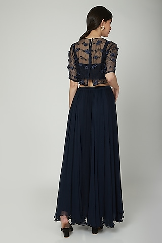 Navy Blue Embroidered Skirt Set by ILK by Shikha and Vinita
