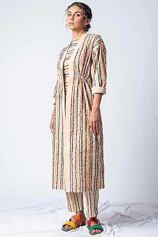 Beige Embroidered Striped Jacket by ILk by Shikha and Vinita