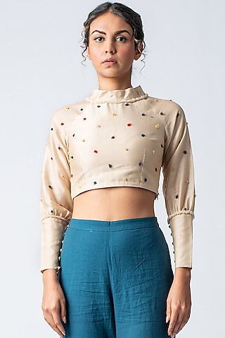Beige Embroidered Blouse by ILk by Shikha and Vinita