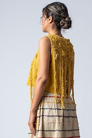 Mustard Yellow Floral Embroidered Crop Top by ILk by Shikha and Vinita