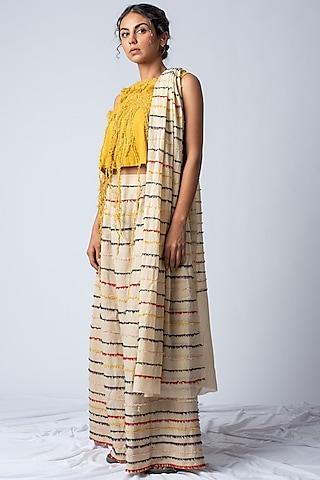 Beige Rainbow Embroidered & Striped Lehenga Set by ILk by Shikha and Vinita
