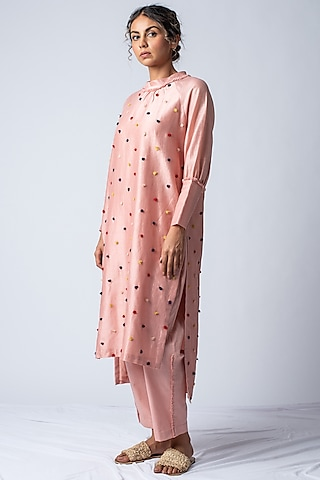 Pink Embroidered Kurta With Leg-O-Mutton Sleeves by ILk by Shikha and Vinita
