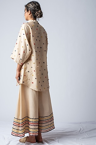 Beige Rainbow Embroidered Sharara Set by ILk by Shikha and Vinita