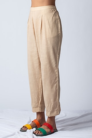 Beige Applique Embroidered Pants by ILk by Shikha and Vinita