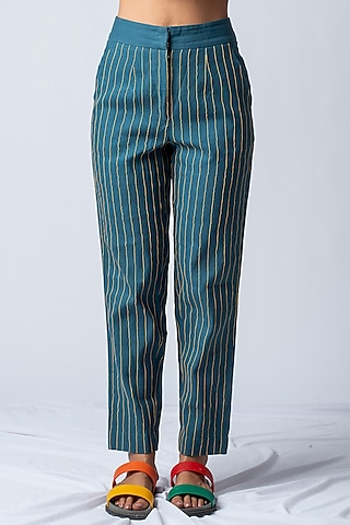 Teal Blue Striped & Embroidered Pants by ILk by Shikha and Vinita