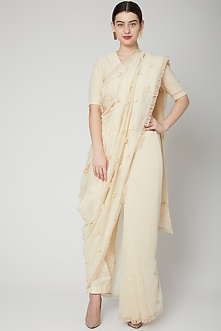Off White Embroidered Saree Set by ILK by Shikha and Vinita