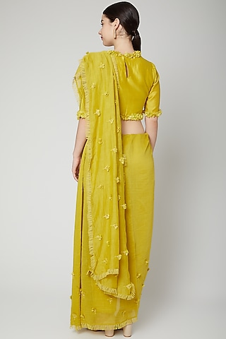 Lime Yellow Embroidered Saree Set by ILK by Shikha and Vinita