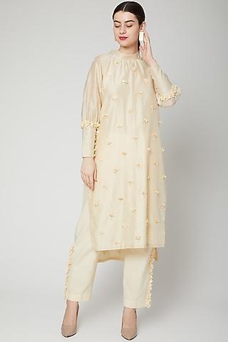 Off White Tonal Embroidered Kurta Set by ILK by Shikha and Vinita