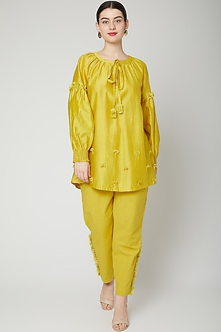 Lime Yellow Embroidered Pant Set by ILK by Shikha and Vinita