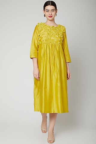 Lime Yellow Embroidered & Gathered Dress by ILK by Shikha and Vinita