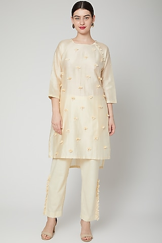 Off White Floral Embroidered Pants by ILK by Shikha and Vinita