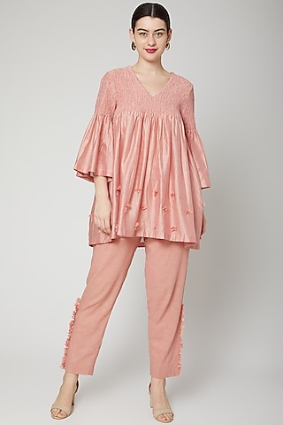 Pink Appliques Embroidered Pant Set by ILK by Shikha and Vinita