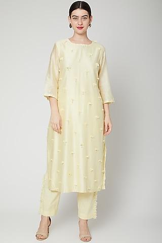 Pale Yellow Embroidered Kurta Set by ILK by Shikha and Vinita