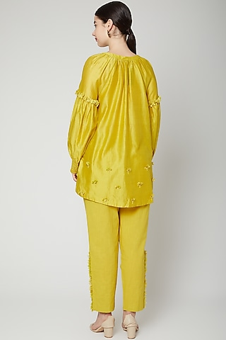 Lime Yellow Embroidered Pants by ILK by Shikha and Vinita