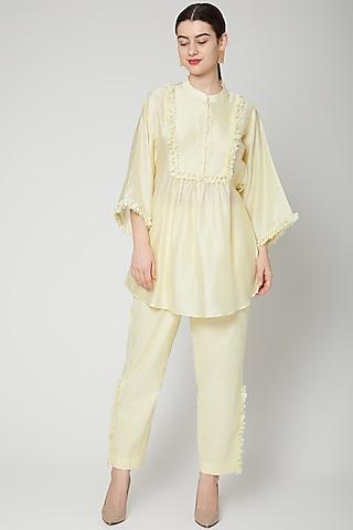 Pale Yellow Nalki Embroidered Pant Set by ILK by Shikha and Vinita
