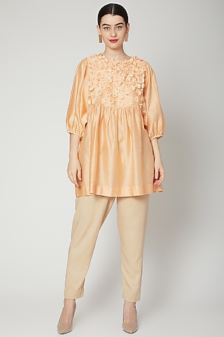 Peach Embroidered & Gathered Top by ILK by Shikha and Vinita
