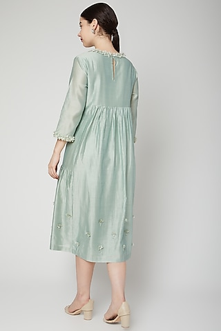 Green Floral Embroidered Dress by ILK by Shikha and Vinita