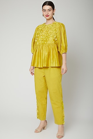 Lime Yellow Floral Embroidered Top by ILK by Shikha and Vinita