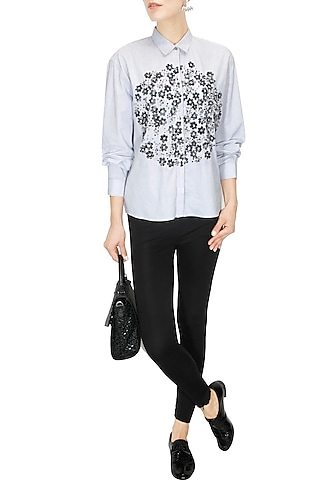 Light grey floral embroidered shirt by ILK By Shikha And Vinita