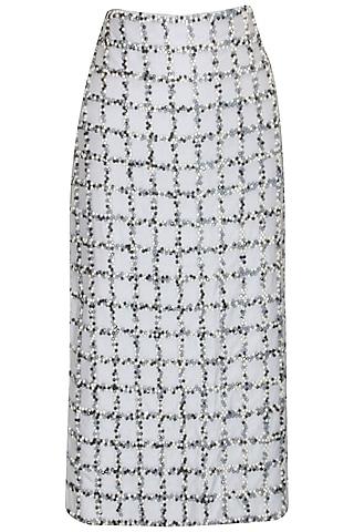 Light grey bead embroidered checks skirt by ILK By Shikha And Vinita