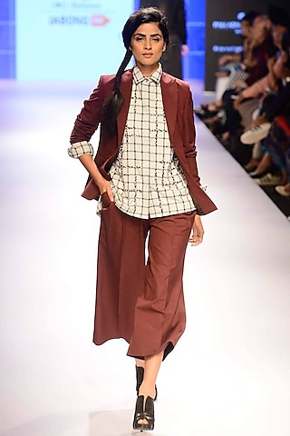 Light grey bead embroidered checks shirt by ILK by Shikha and Vinita