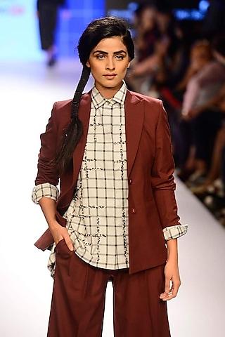 Burgundy micro fabric jacket by ILK by Shikha and Vinita