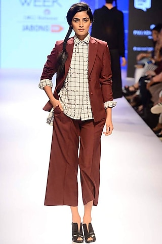 Burgundy pleated pants by ILK by Shikha and Vinita