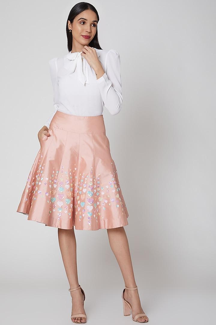 Peach Embroidered Taffeta Skirt by Manish Arora