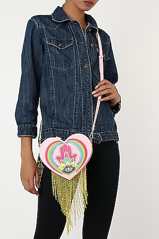 Blush Pink Rexine Heart Shaped Bag by Manish Arora