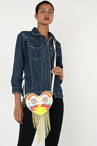 Blush Pink Heart Shaped Bag With Adjustable Straps by Manish Arora
