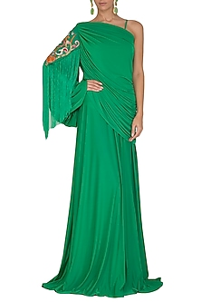 Emerald Green Embroidered One Shoulder Gown by Manish Arora