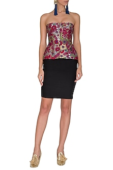 Wine Printed Corset Top by Manish Arora