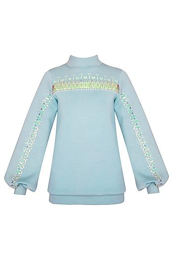 Sky Blue Turtleneck Sweatshirt by Manish Arora