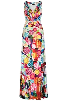 Fuchsia Digital Printed Gown by Manish Arora
